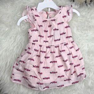 kate spade • pink infant hot rod car print dress